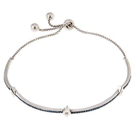 0.33ctw Blue and White Diamond Adjustable Sterling Silver Bracelet