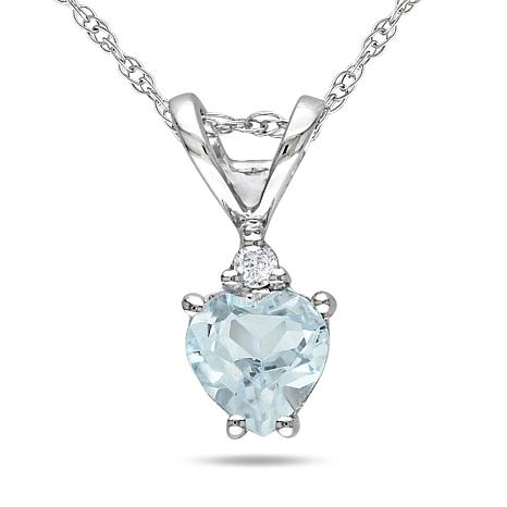 0.37ctw Aquamarine and Diamond 10K Gold Heart Pendant