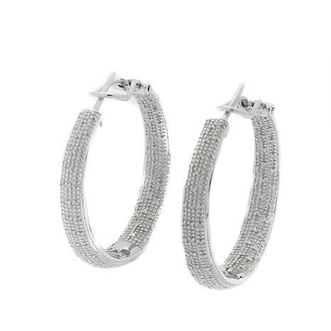 0.50ctw Pavé White Diamond Inside/Outside Hoop Earrings