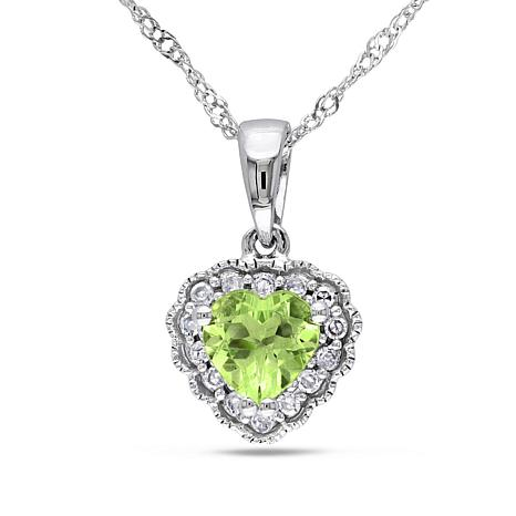 0.57ctw Peridot and Diamond 10K Gold Heart Pendant