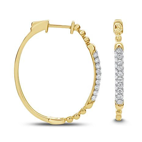 0.5ctw Diamond 14K Gold Hoop Earrings