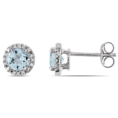 0.87ctw Round Aquamarine and Diamond 10K Stud Earrings