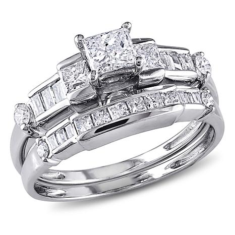 0.98ctw Engagement Ring and Wedding Band 14K Gold Set