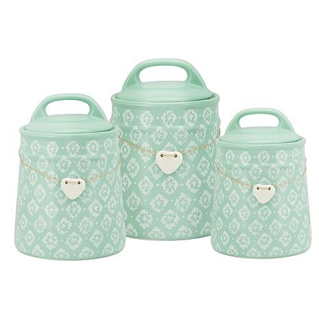 10 Strawberry Street Blossom 3-piece Canister Set - Turquoise