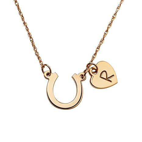 10K Gold Horseshoe and Initial Heart Necklace