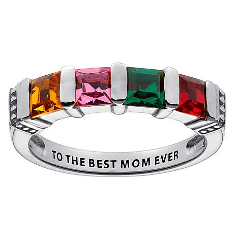 10K  Gold Square Family Birthstone Ring - 4 Stones