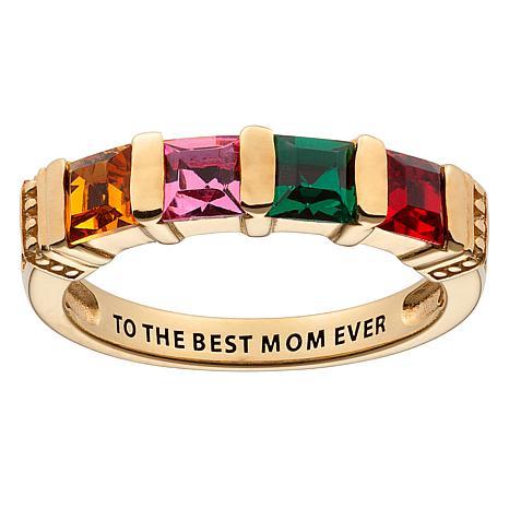 10K  Gold Square Family Birthstone Ring - 4 Stones