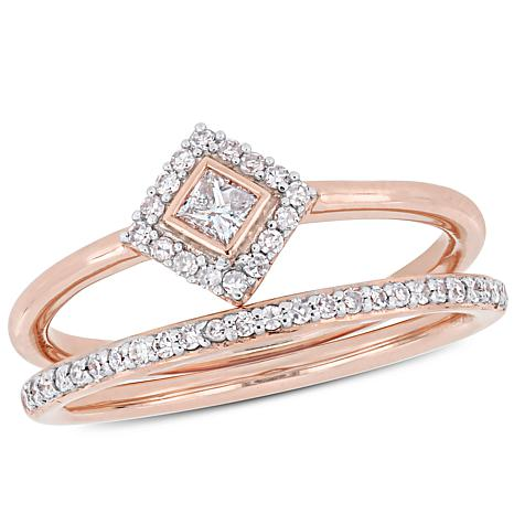 10K Rose Gold 0.29ctw  Diamond 2-piece Bridal Set