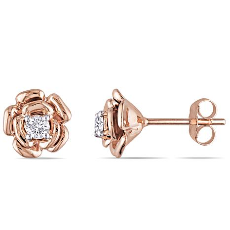 10K Rose Gold 0.2ctw White Diamond Rose-Design Stud ...