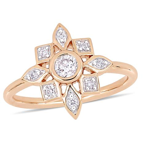10K Rose Gold 0.33ctw Diamond Ring