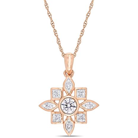 "10K Rose Gold .33ctw Diamond ""Starburst"" Pendant with 17"" Chain"