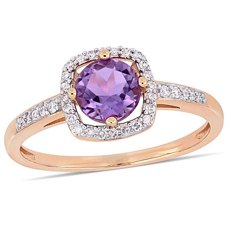 10K Rose Gold .79ctw Amethyst and Diamond Halo Ring