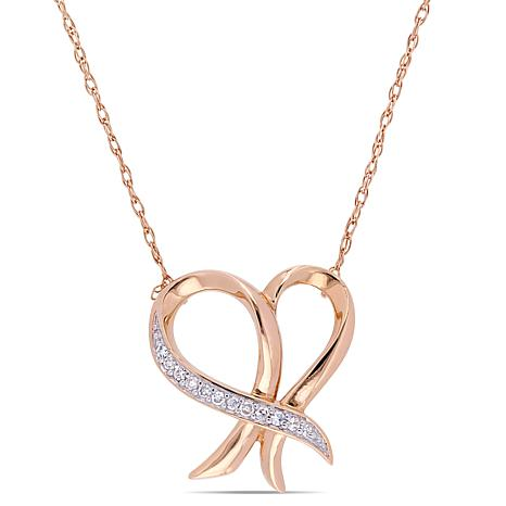 10K Rose Gold Diamond-Accented Heart Drop Necklace