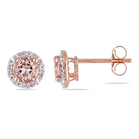 10K Rose Gold Morganite and Diamond Stud Earrings