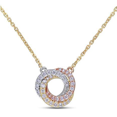 10K Tri-Tone Gold 0.25ctw Diamond Swirl Drop Necklace