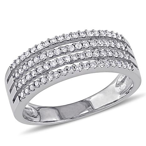 10K White Gold 0.36ctw White Diamond Pavé Multi-Row Ring