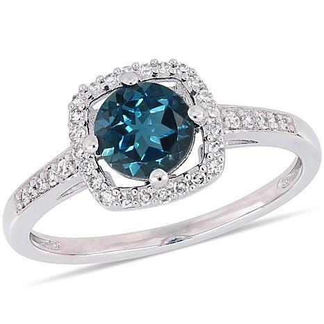 10K White Gold 1.14ctw London Blue Topaz and Diamond Halo Ring