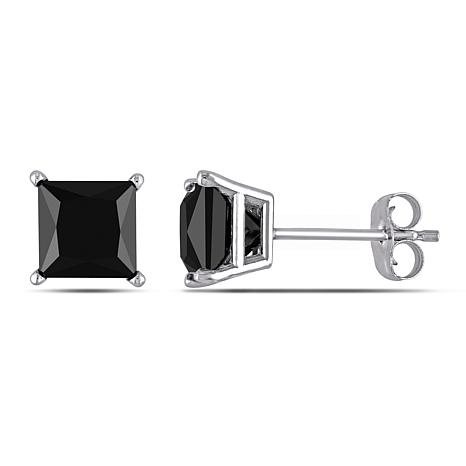 10K White Gold 2ctw Black Diamond Princess-Cut Studs