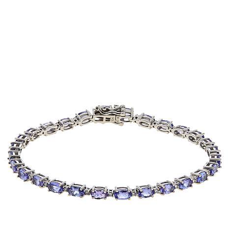 10K White Gold Oval Tanzanite and Diamond Tennis Bracelet