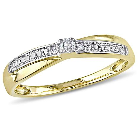 10K Yellow Gold 0.05ctw Diamond Crossover Ring