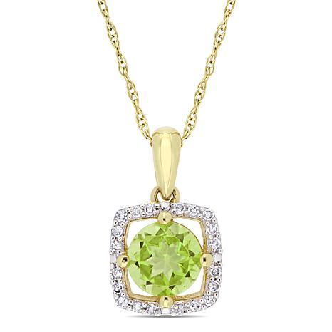 10K Yellow Gold 1.02ctw Peridot and Diamond Halo Pendant with Chain