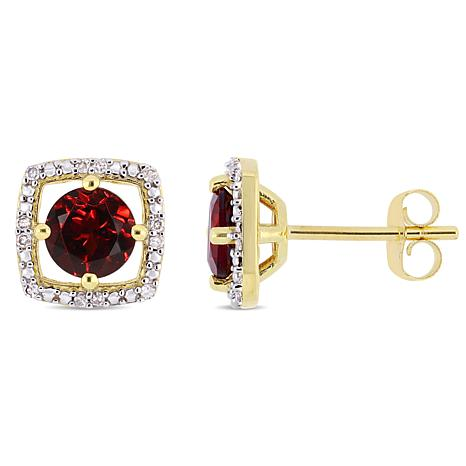 10K Yellow Gold 1.29ctw Garnet and Diamond Stud Earrings