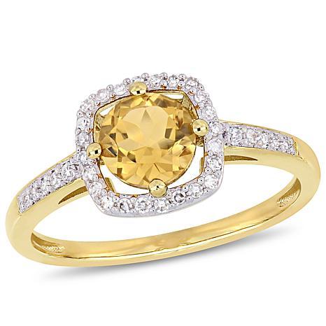 10K Yellow Gold .90ctw Citrine and Diamond Halo Ring
