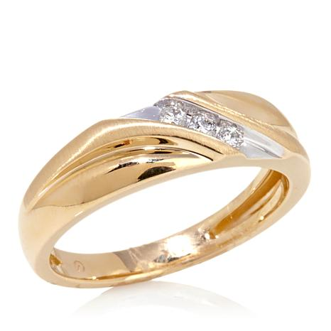 10K Yellow Gold SlantBand Wedding Ring with 3Diamond Accent