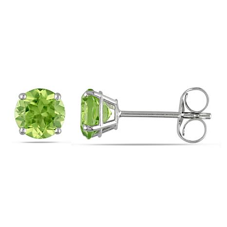 1.12ctw Peridot Round 14K White Gold Stud Earrings