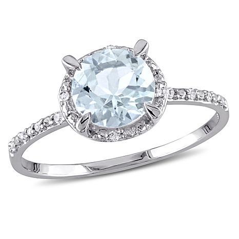 aquamarine and white diamond 10k white gold halo. Black Bedroom Furniture Sets. Home Design Ideas