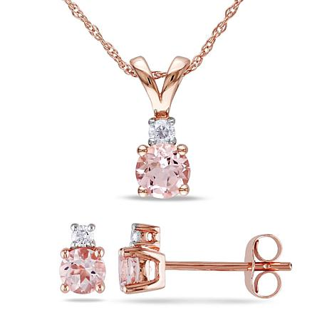 1.29ctw Pink Morganite and Diamond 10K Jewelry Set