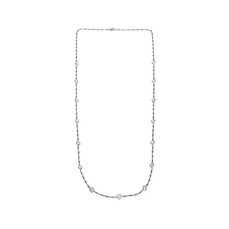 """13.50ctw Absolute™ Round CZ 30"""" Station Necklace"""