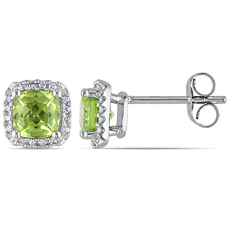 1 39ctw Peridot And Diamond 10k White Gold Cushion Halo Stud Earrings