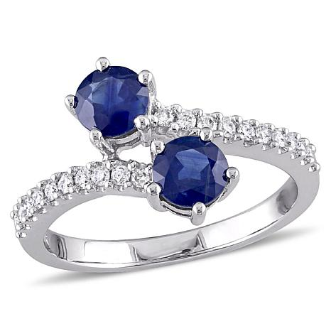 1.40ctw Blue Sapphire and Diamond 10K  Pavé Bypass Ring