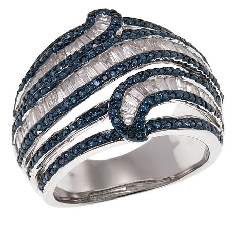 1.4ctw Blue and White Diamond Baguette Sterling Silver Ring