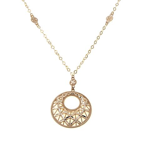14K Diamond-Cut Circle Drop Necklace