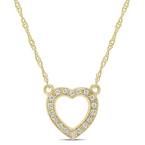 14K Gold .10ctw Diamond Open Heart Necklace