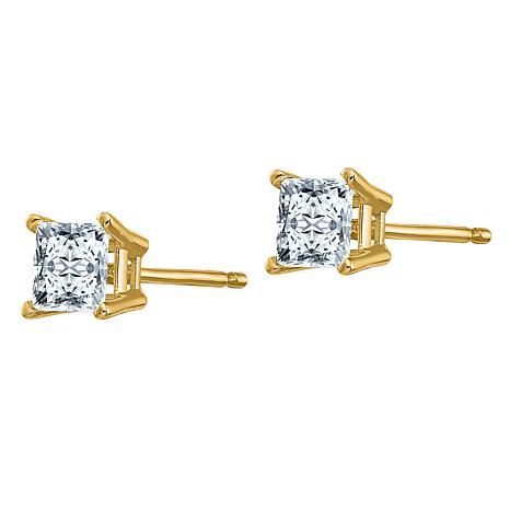 14K Gold 1.2ctw Moissanite Square Brilliant-Cut Stud Earrings