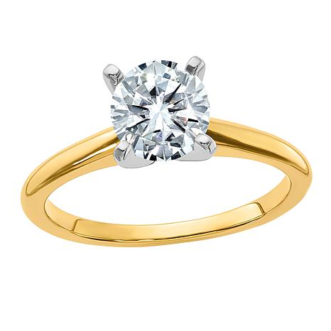 14K Gold 1.50ct Moissanite Round-Cut Solitaire Ring