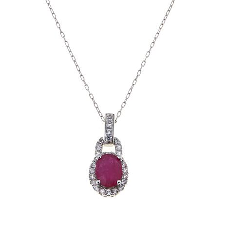 14K Gold 1.55ctw Ruby and White Zircon Pendant w/Chain