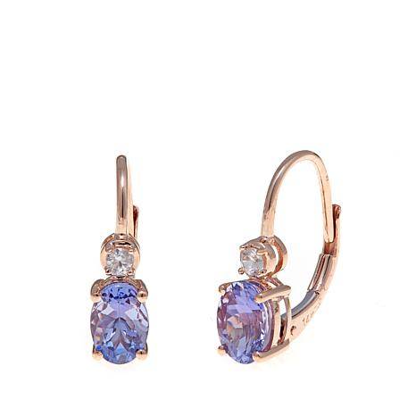 14K Gold 1.5ctw Tanzanite and Zircon Earrings