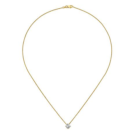 """14K Gold 1ctw Moissanite Round Pendant with 18"""" Chain"""