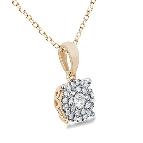 14k gold 20ctw diamond cluster pendant with 18 chain 7921247 hsn aloadofball Gallery