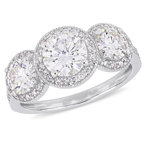14K Gold 2.25ct Moissanite & 0.28ctw Diamond Double-Halo 3-Stone Ring