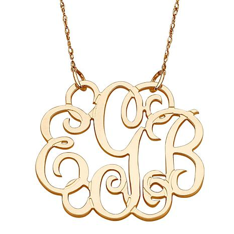 14k gold 3 initial fancy monogram 19 necklace 7122073 hsn 14k gold 3 initial fancy monogram 19 necklace mozeypictures Image collections