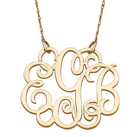 14k gold 3 initial fancy monogram 19 necklace 7122073 hsn 14k gold 3 initial fancy monogram 19 necklace aloadofball Gallery