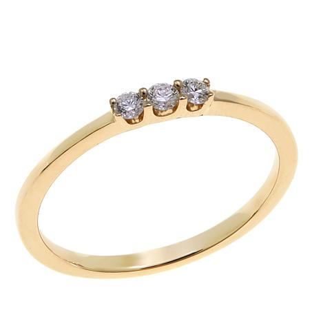 14K Gold 3-Stone Diamond Band Ring