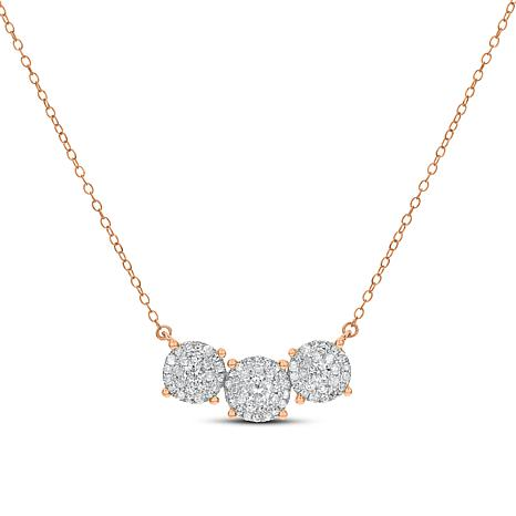 """14K Gold Round Clusters Diamond 18"""" Necklace"""