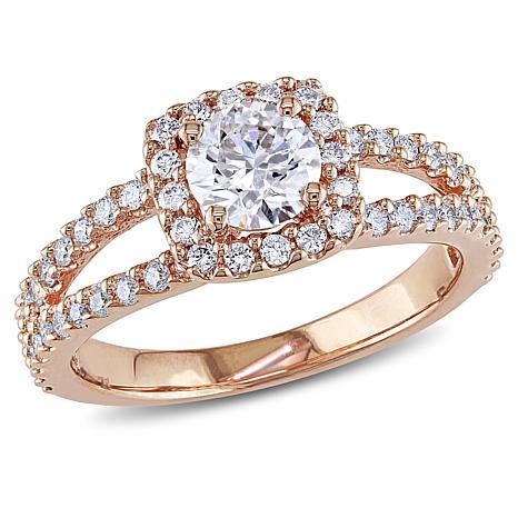 14K Rose Gold 0.98ctw White Diamond Halo Ring