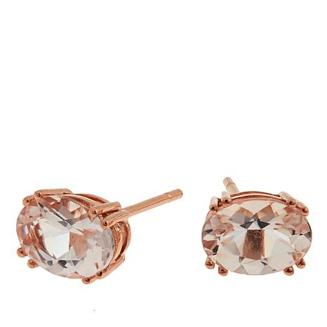 14K Rose Gold 1.4ctw Oval Morganite Stud Earrings